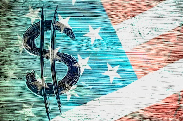 Symbol of the american currency on the background of the usa flag. dollar symbol hand-painted with a brush. design concept for business and politics.1