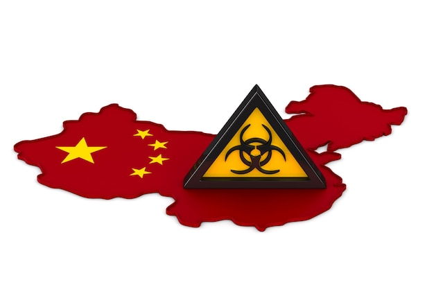 Symbol biohazard and map china on white