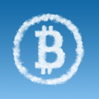 Symbol bitcoin made from a white cloud on a blue background, virtual money concept.