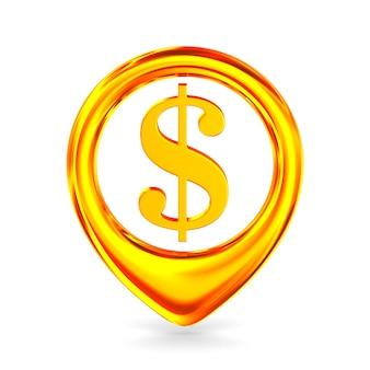 Символ доллара на белом. изолированные 3d иллюстрации