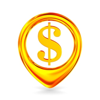 Symbol dollar on white. isolated 3d illustration