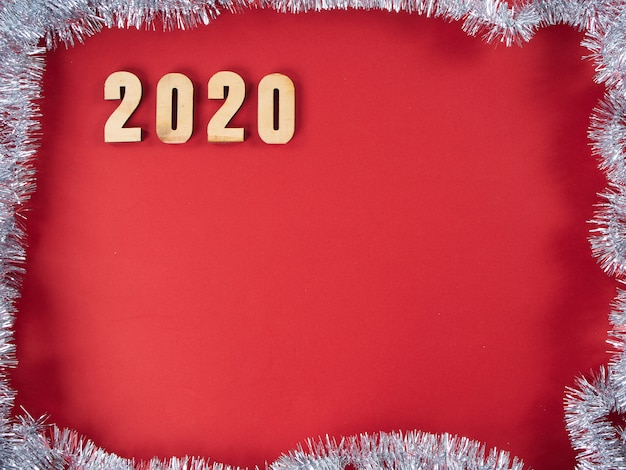 Symbol from number 2020 on red background