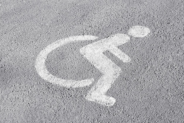 Symbol of handicapped on parking place