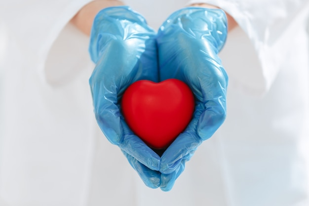 Symbol of the heart in the hands of a doctor
