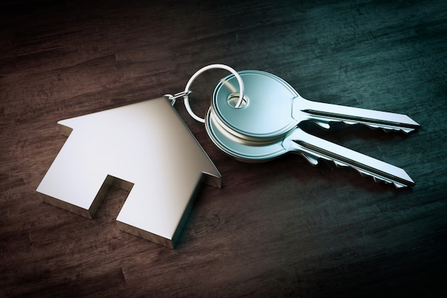 Symbol of a house with silver key