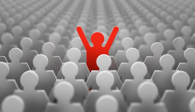 The symbol of a leader in the form of a red man with his hands up in a crowd of white men