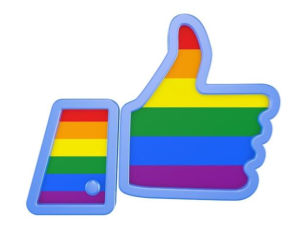 Символ руки с большим пальцем вверх с флагом сообщества лгбт. 3d визуализация.