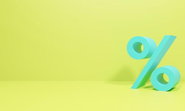 백분율 할인 개념의 상징입니다. 3d 그림