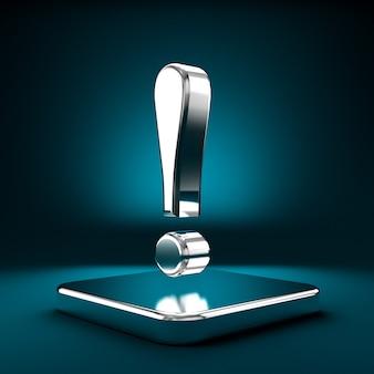 台座のシンボル。感嘆符の3dイラスト、3dレンダリング。