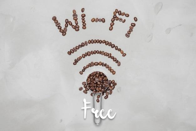 白い背景の上のコーヒー豆で裏打ちされたシンボルwi-fi、コーヒー豆のアイコンwi-fi