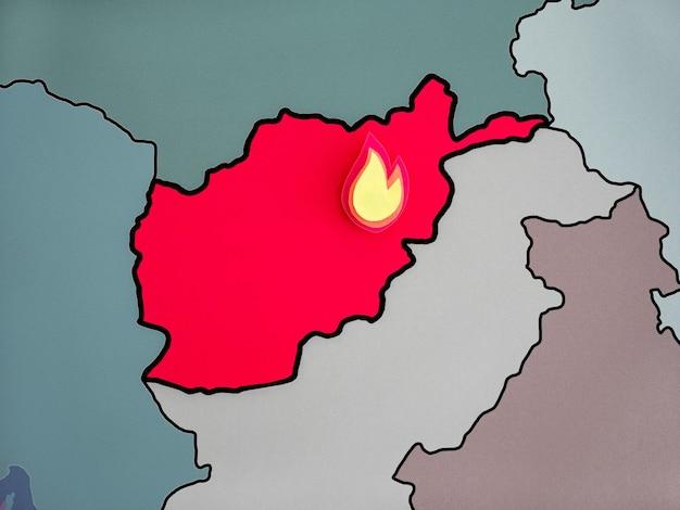세계 지도에 아프가니스탄 국가의 상징적인 이미지.