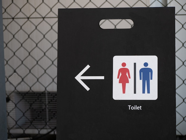 Symbols on the black board for directions to the toilet such as