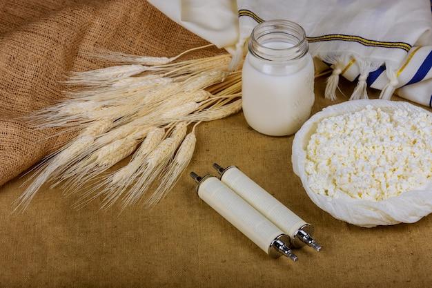 Symbols of jewish holiday torah wheat shavuot kosher food