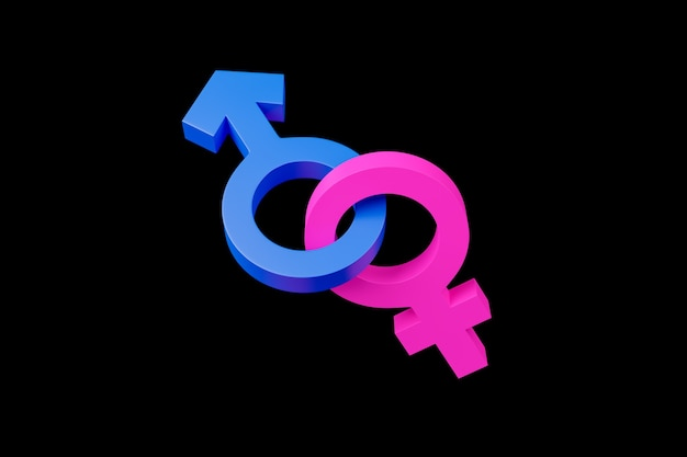 Symbols of male and female gender united on black background.