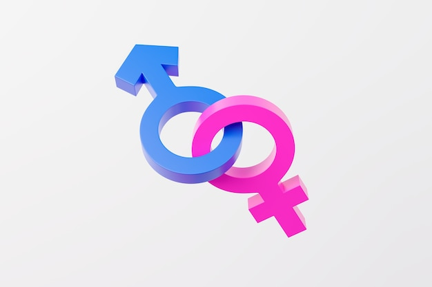 Symbols of male and female gender united on white background.