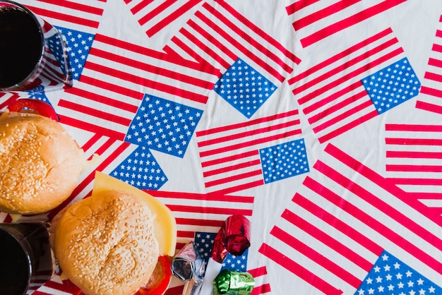 Symbols and treat for independence day