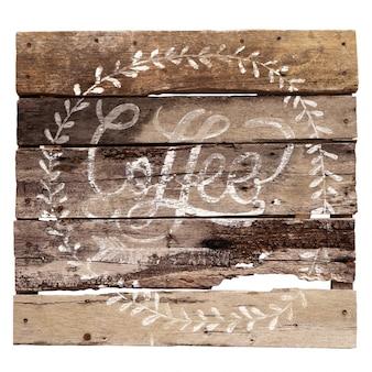 木材 - 古いヴィンテージの古いコーヒーsymbow。 whitebackgroundで隔離する