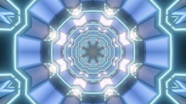 Symmetric 3d illustration of abstract background of kaleidoscopic tunnel with light blue illumination