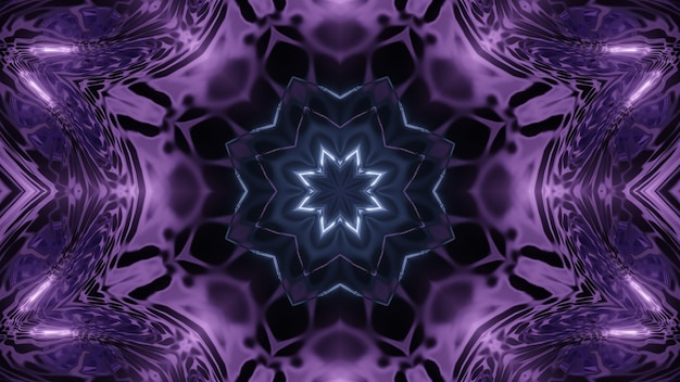 Symmetric 3d illustration of abstract background with fractal ornament of dark violet color