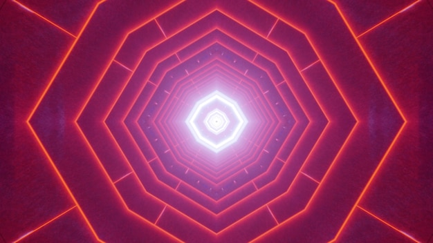 Symmetric 3d illustration of abstract geometric tunnel illuminated with vibrant red neon lines