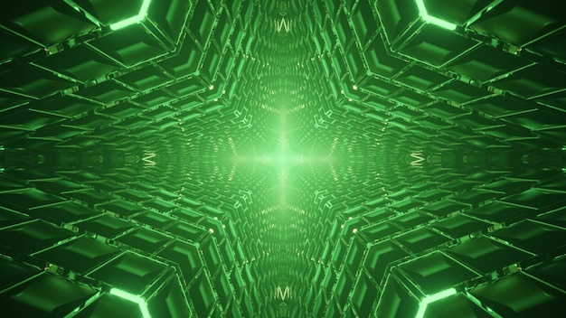 Symmetric 3d illustration of abstract green tunnel with glowing ornament of geometric panels