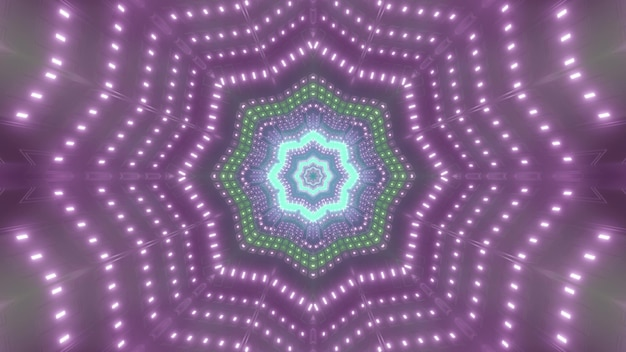 Symmetric 3d illustration of abstract star shaped tunnel illuminated with neon purple lamps