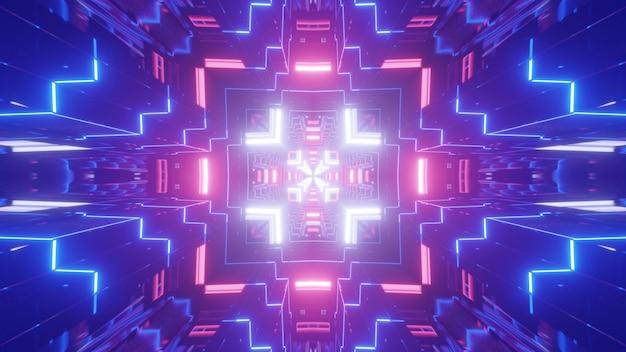 Symmetric 3d illustration of bright blue tunnel illuminated with bright colorful neon ornament