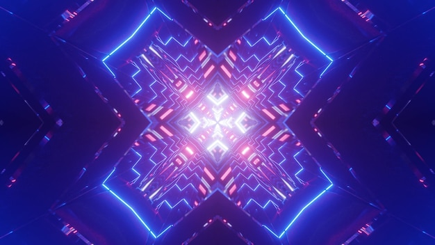 Symmetric 3d illustration of bright cross shaped blue tunnel illuminated with shiny neon lines