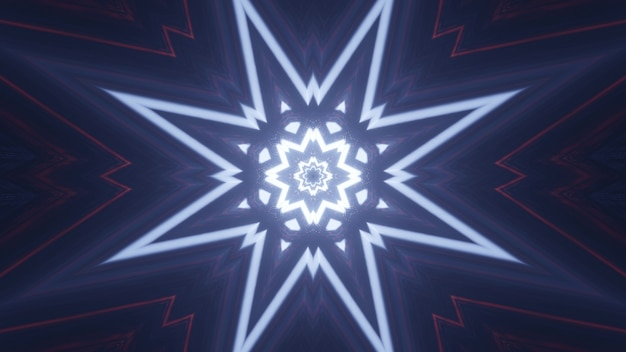 Symmetric 3d illustration of bright neon lines glowing and forming abstract star shaped ornament