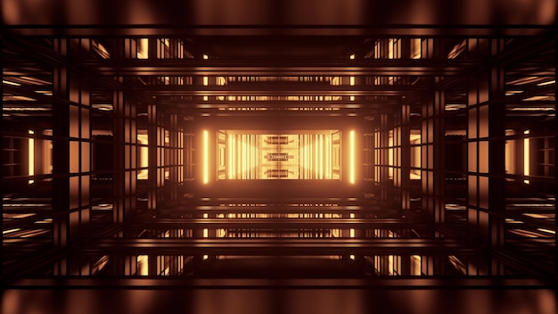 Symmetric 3d illustration of endless corridor formed by geometric shapes and yellow neon lights