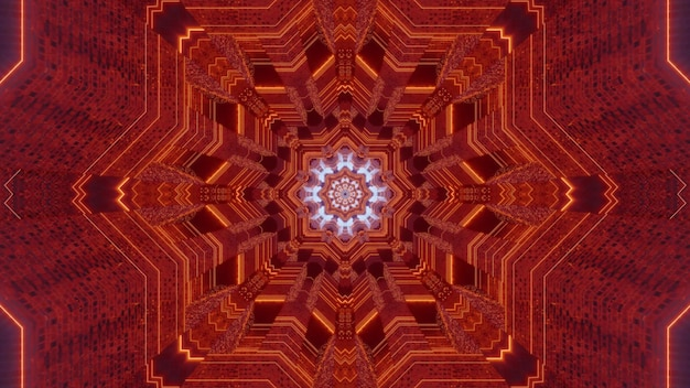 Symmetric 3d illustration of kaleidoscopic tunnel of orange color with abstract fractal ornament Premium Photo
