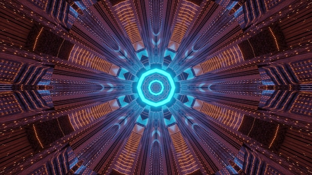 Symmetric 3d illustration of neon tunnel
