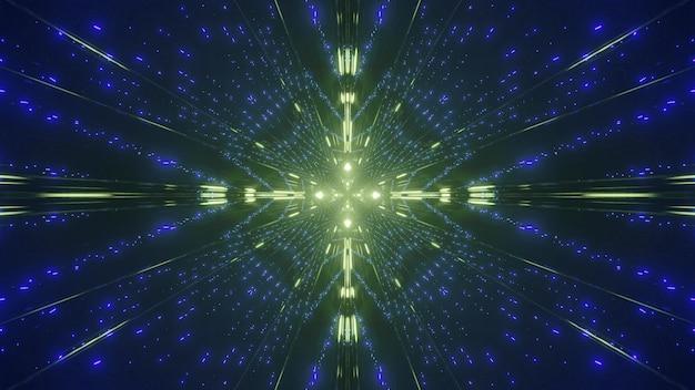 어둠 속에서 파열하는 노란색과 파란색 빛의 불꽃의 추상적 인 배경의 대칭 3d 그림