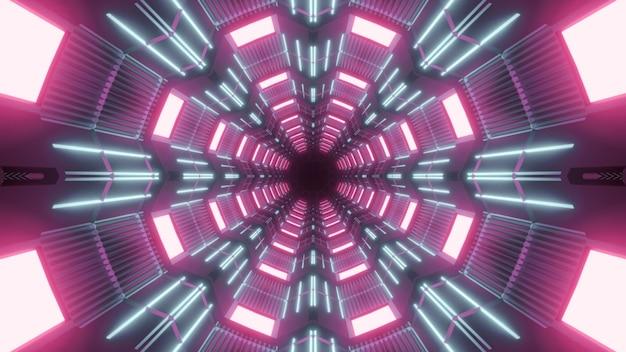 Симметричная трехмерная иллюстрация абстрактного фона яркого туннеля, освещенного розовыми лампами