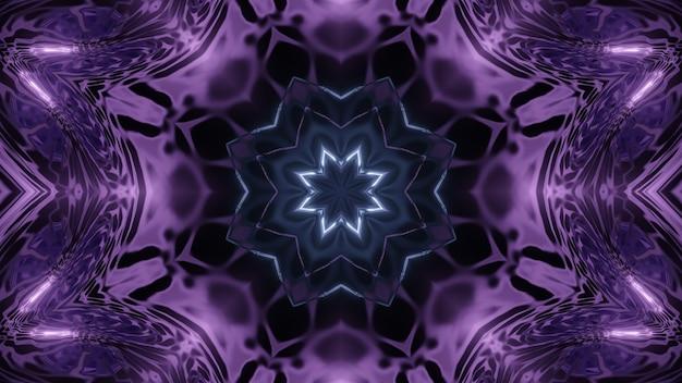 Симметричная трехмерная иллюстрация абстрактного фона с фрактальным орнаментом темно-фиолетового цвета