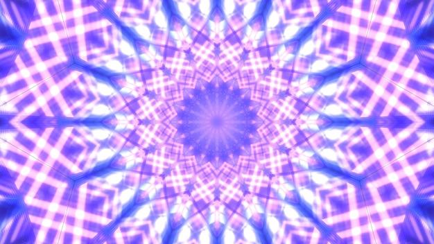 Симметричная трехмерная иллюстрация абстрактного фона с жемчужным орнаментом, образованным блестящими фиолетовыми линиями