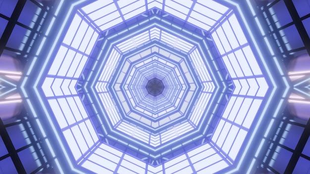 紫色の光で輝く万華鏡のような幾何学的なトンネルと抽象的な背景の対称的な3dイラスト