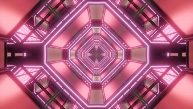 생생한 붉은 빛으로 빛나는 추상적 인 기하학적 마름모 터널의 대칭 3d 그림