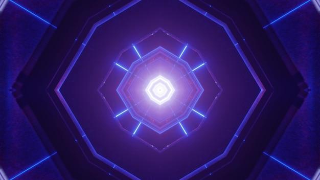 Симметричная трехмерная иллюстрация яркого абстрактного геометрического туннеля, освещенного неоновым синим светом