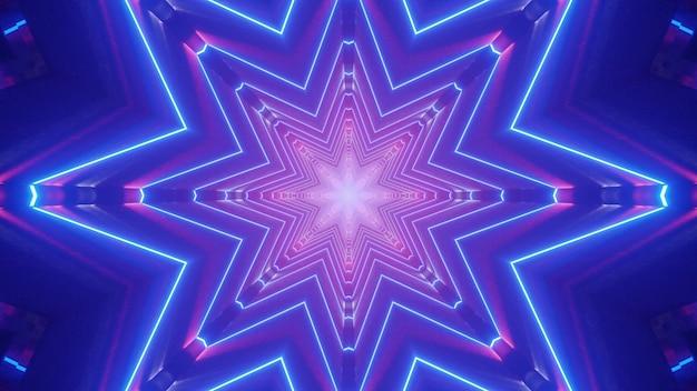 Симметричная трехмерная иллюстрация ярко-синего абстрактного туннеля с неоновыми линиями, образующими звездообразный орнамент