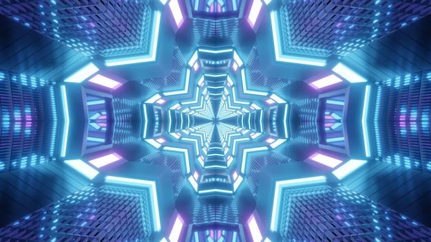 Симметричная трехмерная иллюстрация яркого крестообразного туннеля, светящегося синими и фиолетовыми огнями