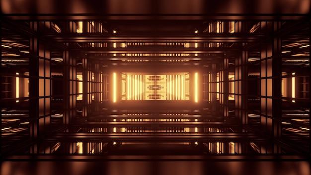 기하학적 모양과 노란색 네온 불빛으로 형성된 끝없는 복도의 대칭 3d 그림