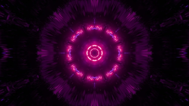 Symmetric 3d illustration of round futuristic tunnel glowing with bright neon pink light