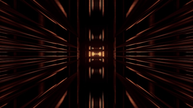Symmetric abstract 3d illustration of long geometric shapes forming corridor on black background