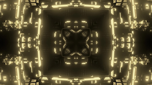 Symmetric abstract background glowing with yellow neon light and forming crystal tunnel