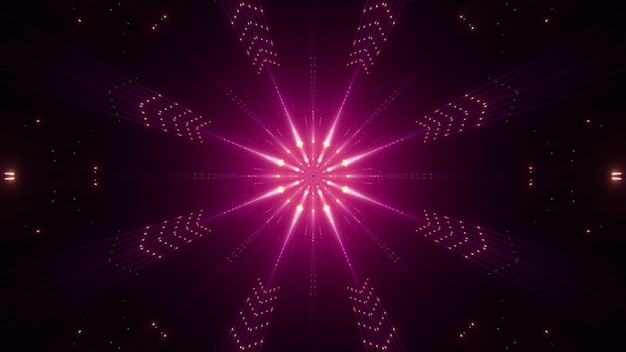 Symmetric abstract beams shining in darkness with vivid neon pink light