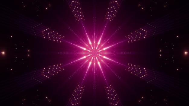 선명한 네온 핑크 빛으로 어둠 속에서 빛나는 대칭 추상 광선