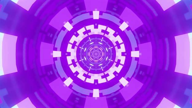 Symmetric abstract ornament glowing with vivid neon light of violet color