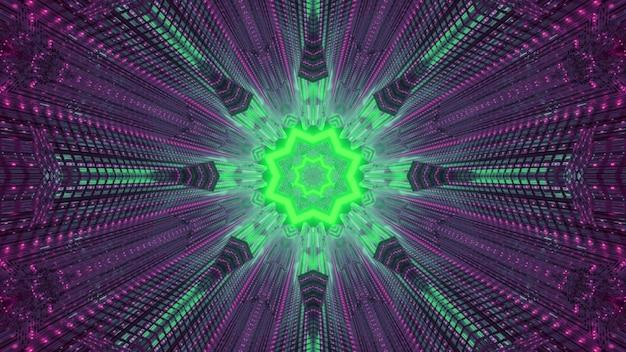 밝은 녹색과 보라색 네온 불빛으로 빛나는 대칭 추상 초현실적 인 배경