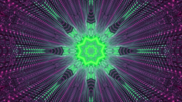 Symmetric abstract surreal background glowing with bright green and purple neon lights